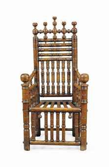 A CHARLES I ASH TURNERS CHAIR EARLY 17TH CENTURY