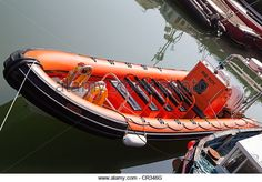 Inflatable RIB craft Arbroath Harbour Scotland UK - Stock Image