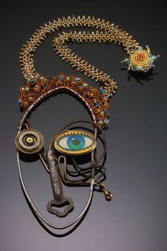 Alice Sprintzen Studio: Diane Found wire, clock part, lenticular image, antique key, copper, sterling silver, glass beads