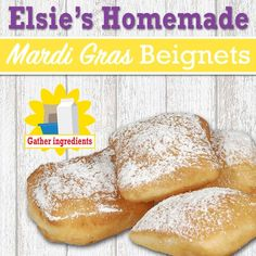 You must celebrate mardi gras with Elsie's homemade Beignets! This traditional New Orleans-style recipe can sure help get the party started!  #Mardigras #Beignets #recipe