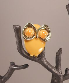 High Bug Eyed Yellow Owl Brooch Pin by trippytrunk on Etsy, $10.00