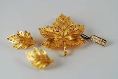 Trifari Leaf Brooch and Earrings with Original by AMagnificentMess, $39.00