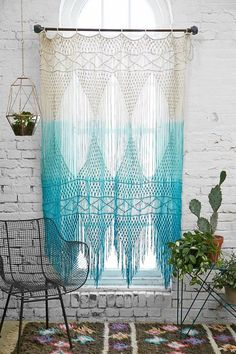 Urban Outfitters Blue Teal Ombre Macrame Wall Art