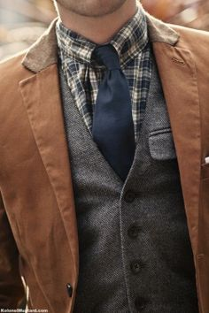 plaid shirt gray herringbone vest and a casual brown jacket - soft construction leather tab under collar! - work boots and jeans! - maybe sans jacket Fashion Mode, Look Fashion, Mens Fashion, Elegance Fashion, Preppy Fashion, Guy Fashion, Fashion Suits, Fall Fashion, Fashion Ideas