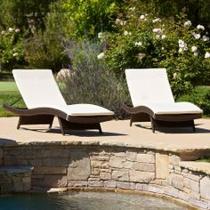 Set of 2 Outdoor Patio Pool Adjustable Wicker Chaise Lounge Chairs w/ Cushions on ebay