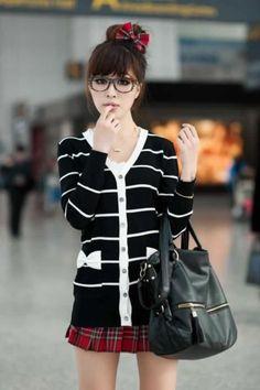 Black Stripes Asian Fashion Cardigan With Bows At Pockets