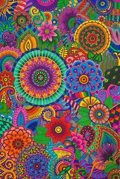 Floral Mandala Pattern Art and with Such Great Colors! How Could You NOT Love This Pin?! -- Jaye January