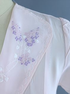 Vintage 1930s Nightgown / Bias Cut Pink Embroidered Rayon Crepe / Artemis