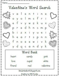 Free!  Valentine word search...my students love these!