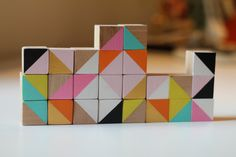 wooden cube blocks modern geometric sculpture via cabinandmoss @ Etsy