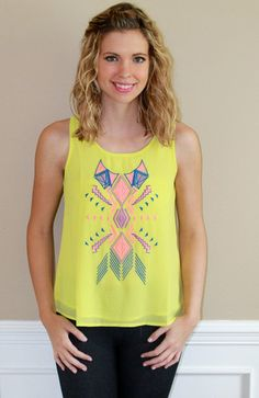 Lime top, print, dressy, cute outfit, fashion, ootd, inspiration, ideas, style, tribal, Aztec, color, summer