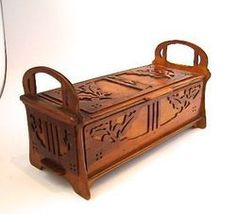 Arts Crafts Nouveau Carved Oak Leaves Wooden Jewelry Box English American 1900 | eBay