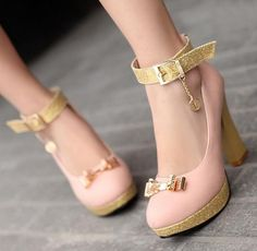 Lovely thick bottom bow round head high heels