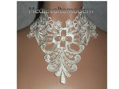 Large Scroll Victorian Ivory Collar Choker by by medievaltomodern, $29.00