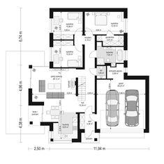 Projekt domu Dom na miarę 2 - 102.48 m2 - koszt budowy 222 tys. zł Bungalow, Floor Plans, Floor Plan Drawing, House Floor Plans, Craftsman Bungalows, Bungalows