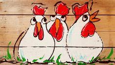 Koddige Kippen Op Hout Schilderen