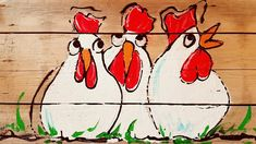 Koddige Kippen Op Hout Schilderen Rooster Painting, Tole Painting, Diy Painting, Painting On Wood, Chicken Painting, Chicken Art, Cartoon Chicken, Chickens And Roosters, Pictures To Paint