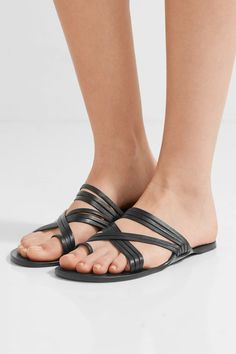 The Row - Cannes Leather Sandals - Black - IT38