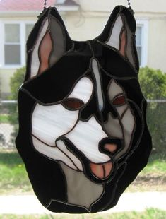 Shadow The Siberian Husky Dog Panel - by Wknight's Adventures in Stained Glass