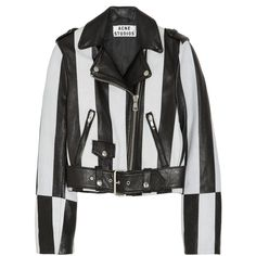 Acne Mape striped leather biker jacket ($620) ❤ liked on Polyvore featuring outerwear, jackets, tops, coats, black, slim fit leather jacket, leather jackets, cropped leather jacket, cropped motorcycle jacket and cropped biker jacket