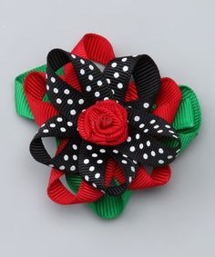 Take a look at this Red & Black Polka Dot Flower Bow Clip by Picki Nicki Hair Bowtique on #zulily today!