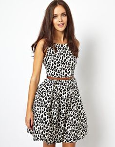 Image 1 of Glamorous - skater dress with leopard print