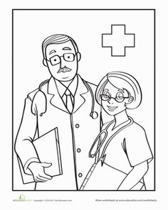 Preschool People Worksheets: Color the Friendly Doctors Preschool Colors, Free Preschool, Preschool Education, Preschool Worksheets, Preschool Themes, Preschool Crafts, Community Helpers Crafts, Office Programs, Preschool Coloring Pages
