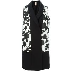 Antonio Marras Sleeveless Midi Coat (2,632,605 KRW) via Polyvore featuring outerwear, coats, black, black coat, sleeveless coat, calf length coat and antonio marras