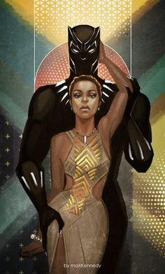 T'Challa and Nakia Sexy Black Art, Black Love Art, Black Girl Art, Black Panther King, Black Panther Marvel, Female Black Panther, Costumes Marvel, Black Panther Chadwick Boseman, Black Cartoon Characters