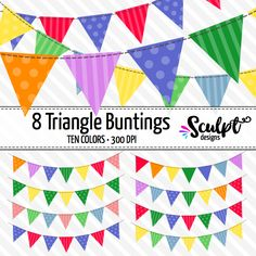 Buntings clip art in ten lovely colors. Add a touch of color to your projects!
