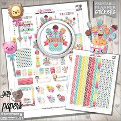 Cake Pop Stickers, Planner Stickers, Kawaii Stickers, Planner Accessories, Food, Birthday, Cakepops, Lollipop, CakePop, Erin Condren