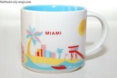 Starbucks 2013 Miami You Are Here Collection Ceramic Coffee Mug, 14 FL Oz: Ceramic Holds Oz Wash Thoroughly before first use Dishwasher and Microwave Safe new with box Starbucks State Mugs, Starbucks Tumbler, Novelty Store, Novelty Ties, Starbucks Locations, Creative Coffee, Mugs For Sale, Coffee Is Life, Mugs