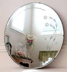 Art Deco Big Round Frameless Scalloped Bevelled Edge