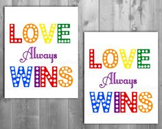 love wins-gay pride-gay wedding-rainbow pride-wall art-wall decor-PRINTABLE art-gay wedding gift-canvas art-art print-typography print by Raising3Cains on Etsy https://www.etsy.com/listing/451581196/love-wins-gay-pride-gay-wedding-rainbow