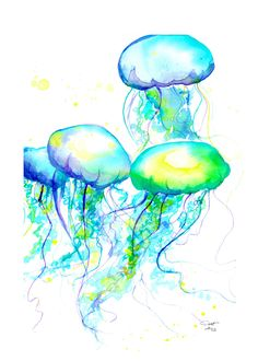 Items similar to Print from original watercolor jellyfish series by Jessica Durrant titled Electric Feel No. 2 on Etsy Watercolor Jellyfish, Jellyfish Art, Jellyfish Drawing, Jellyfish Decorations, Jellyfish Aquarium, Beach Watercolor, Watercolor Print, Painting Inspiration, Art Inspo