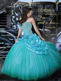 Disney Royal Ball | Quinceanera Dresses | Quinceanera Dresses by Disney Royal Ball - CINDERELLA - Inspired by Cinderella's graceful elegance, this ball gown brings the magic of the ballroom to life. The design features a strapless bodice accented with ornate beading embellishments and floral detailing at side hip.