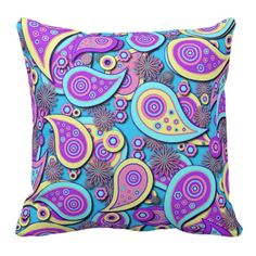 Browse our amazing and unique Chic wedding gifts today. Turquoise Room, Turquoise And Purple, Aqua, Paisley Pattern, Pattern Art, Birthday Presents For Mom, Purple Pillows, Victorian Decor, Girl Decor