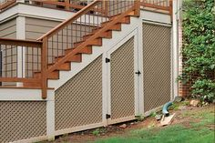 Need outdoor storage?  Design your deck or porch to do 'double duty' by using the space beneath. | atlantadecking.com