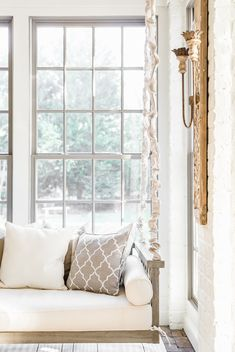 This beautiful bench swing is the perfect place to take a nap or sip sweet tea and unwind. It's the work of Interior Designer Sara Lynn Brennan, of Waxhaw, North Carolina, a suburb of Charlotte, NC. Sunroom Decorating, Interior Decorating, Interior Design, Sunroom Ideas, Outdoor Daybed, Indoor Outdoor, Outdoor Living, Transitional Living Rooms, Transitional Decor