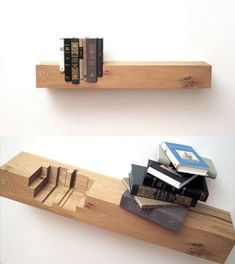 Creative Bookshelves  This would drive me nuts unless they were permanently affixed.  Could you imagine one lost and not having another the correct size... Oh the anxiety I am feeling