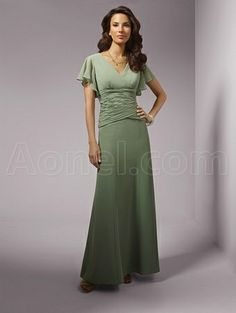 Sage V-neck Short Sleeve Draped Chiffon Mother of the Bride Dresses