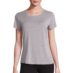 PAIGE Bexley Heathered T-Shirt (2.395 UYU) ❤ liked on Polyvore featuring tops, t-shirts, apparel & accessories, light heather grey, sporty t shirts, short sleeve crew neck t shirt, heather gray t shirt, crew-neck tee and short sleeve pullover
