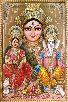 Durga, Lakshmi and Ganesha