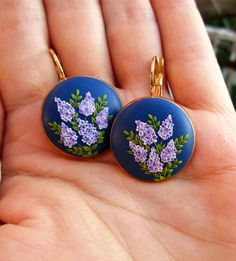 lilac polymer clay earrings flower floral
