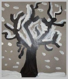 L'année dernière , une de mes collègues de grande section avait fait faire de magnifiques arbres d'hiver. En peinture peinture et collage de papier de soie et d'aluminium