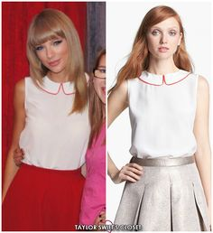 Meet & Greet in San Diego, CA | August 15, 2013 Taylor rocks an adorable sleeveless tank with a piped peter pan collar, courtesy of Kate Spade, for the meet and greet before the San Diego show earlier...