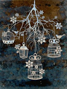Bird Cage Chandelier Art Print    draw birds in cages with music notes.