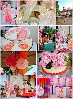 Bright orange & pink bridal shower.