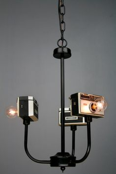 Handmade Vintage Upcycled Camera Lamp Chandelier by RetroBender - pretty sure I need this in my office Unique Lighting, Lighting Design, Upcycled Vintage, Repurposed, Retro Vintage, Blitz Design, Vintage Cameras, Lamp Light, Light Bulb