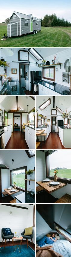 A 24' tiny house featuring a galley kitchen with granite countertops and bamboo floors. Three skylights and several windows provide plenty of natural light.